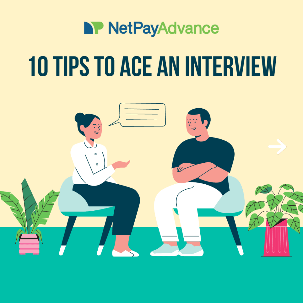 """Illustration of woman and man sitting down having a conversation. Floor is teal. Wall is yellow. Blue text says """"10 tips to ace an interview"""""""